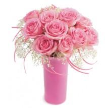 Douzaine de Roses roses St-Valentin